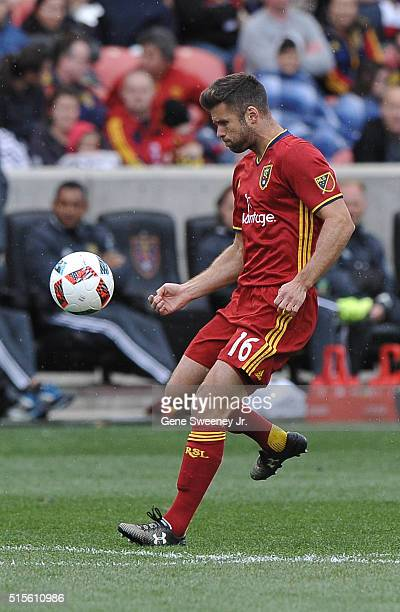Chris Wingert of Real Salt Lake dribbles the ball in the game against Seattle Sounders FC at Rio Tinto Stadium on March 12, 2016 in Sandy, Utah.