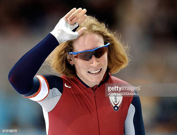Chris Witty of the US jubilates after setting a new World record with 11383 in the women's 1000m speed skating race at the Utah Olympic Oval 17...