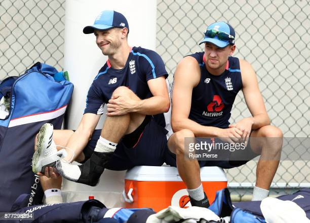 Chris Woakes and Jake Ball of England look on during an England nets session at The Gabba on November 22 2017 in Brisbane Australia