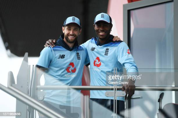 Chris Woakes and Jofra Archer of England pose for a photo prior to the 1st Royal London One Day International Series match between England and...