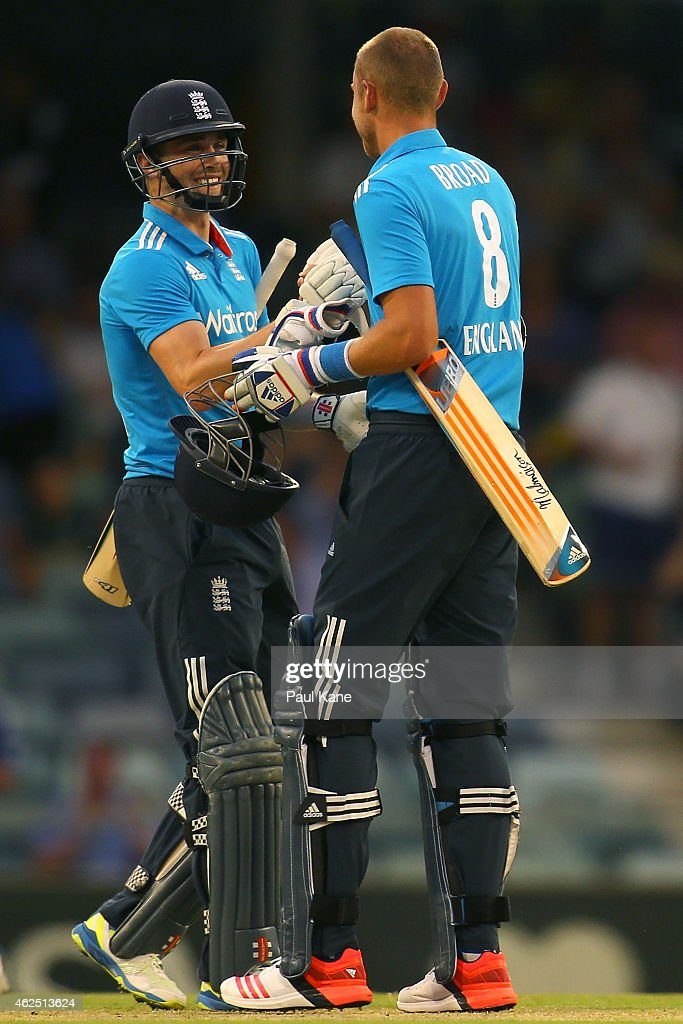 Chris Woakes and Stuart Broad of England celebrate after winning the One Day International match between England and India at WACA on January 30, 2015 in Perth, Australia.