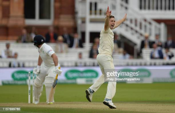 Chris Woakes of England appeals and after a review dismissed Gary Wilson of Ireland during the third day of the Specsavers Test Match between England...