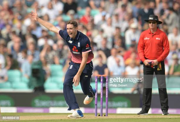 Chris Woakes of England appeals and dismisses Marlon Samuels of the West Indies during the 4th Royal London oneday international cricket match...