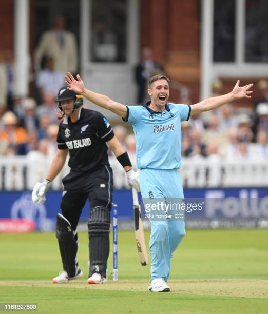 Chris Woakes of England appeals successfully for the wicket of Martin Guptill of New Zealand during the Final of the ICC Cricket World Cup 2019...