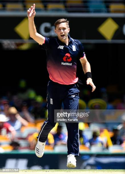 Chris Woakes of England appeals to the umpire during game two of the One Day International series between Australia and England at The Gabba on...