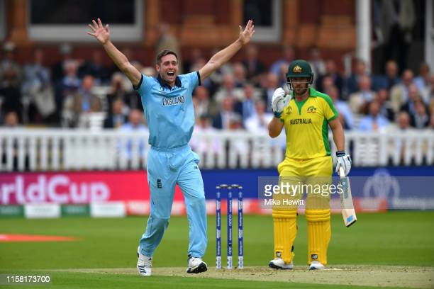Chris Woakes of England appeals unsuccessfully for an LBW against Aaron Finch of Australia during the Group Stage match of the ICC Cricket World Cup...