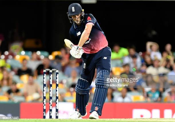 Chris Woakes of England bats during game two of the One Day International series between Australia and England at The Gabba on January 19 2018 in...