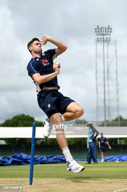 Chris Woakes of England bowls during a nets session at Rangiri Dambulla International Stadium on October 8 2018 in Dambulla