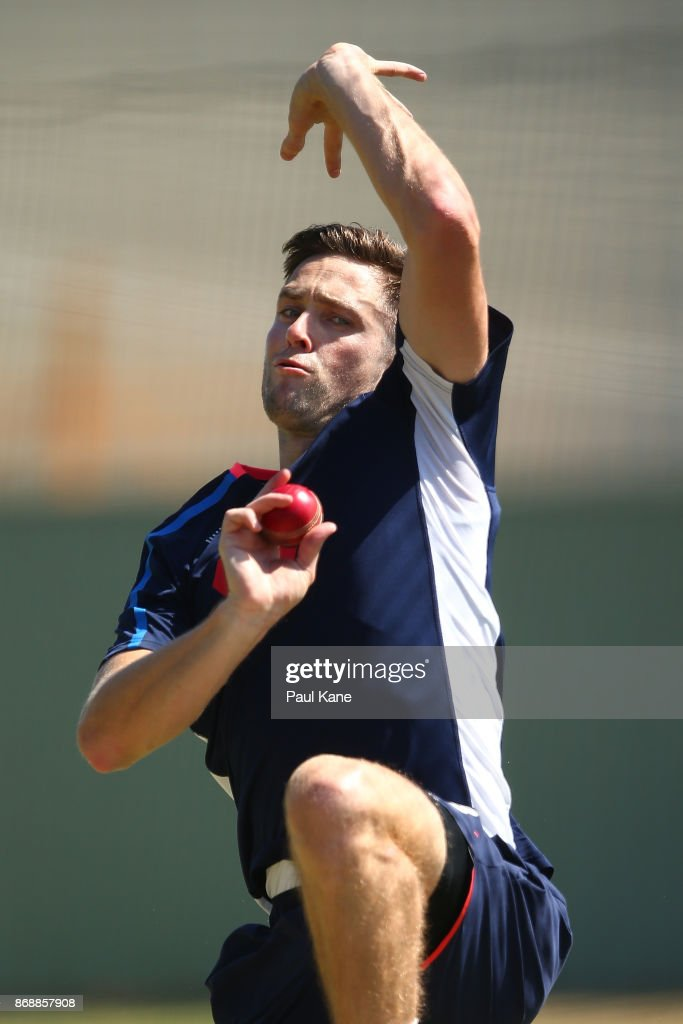 Chris Woakes of England bowls during an England nets session at the WACA on November 1, 2017 in Perth, Australia.