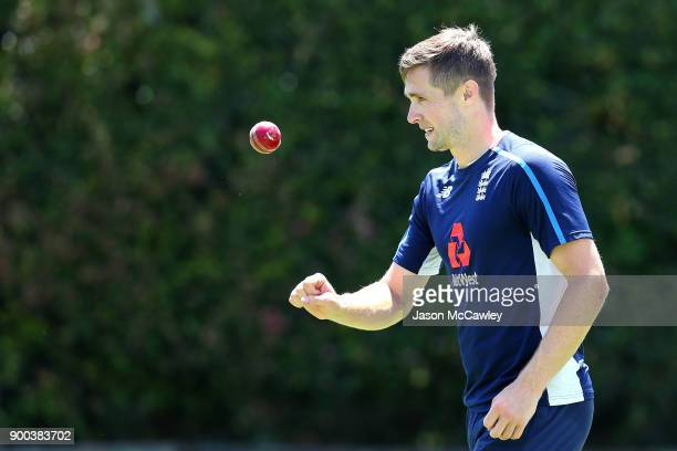 Chris Woakes of England bowls during an England nets session at the Sydney Cricket Ground on January 2 2018 in Sydney Australia