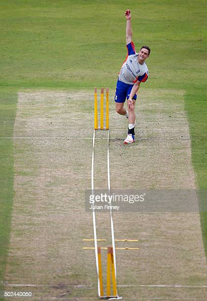 Chris Woakes of England bowls during England nets and training session at Sahara Stadium Kingsmead on December 25 2015 in Durban South Africa