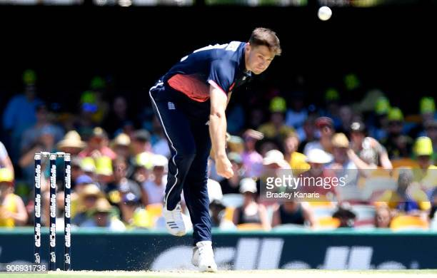 Chris Woakes of England bowls during game two of the One Day International series between Australia and England at The Gabba on January 19 2018 in...