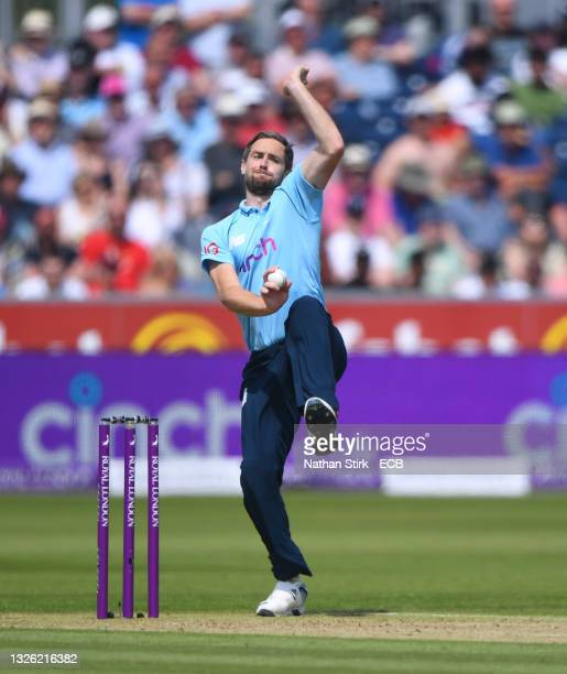 Chris Woakes of England bowls during the 1st One Day International match between England and Sri Lanka at Emirates Riverside on June 29, 2021 in...