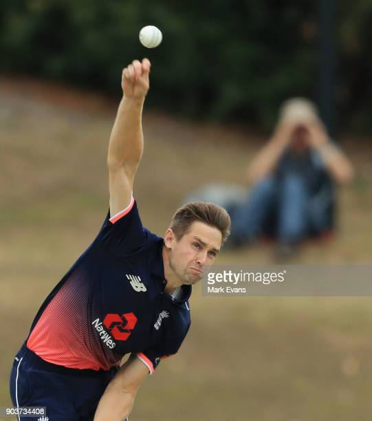 Chris Woakes of England bowls during the One Day Tour Match between the Cricket Australia XI and England at Drummoyne Oval on January 11 2018 in...