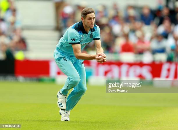Chris Woakes of England catches his fourth catch of the day to dismiss Sarfaraz Ahmed during the Group Stage match of the ICC Cricket World Cup 2019...