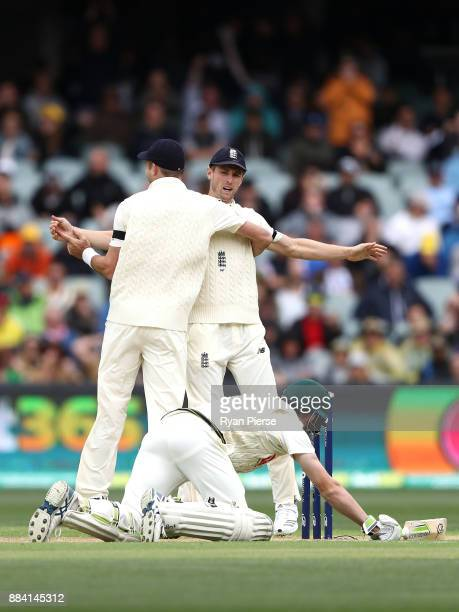 Chris Woakes of England celebrates after Cameron Bancroft of Australia was run out during day one of the Second Test match during the 2017/18 Ashes...