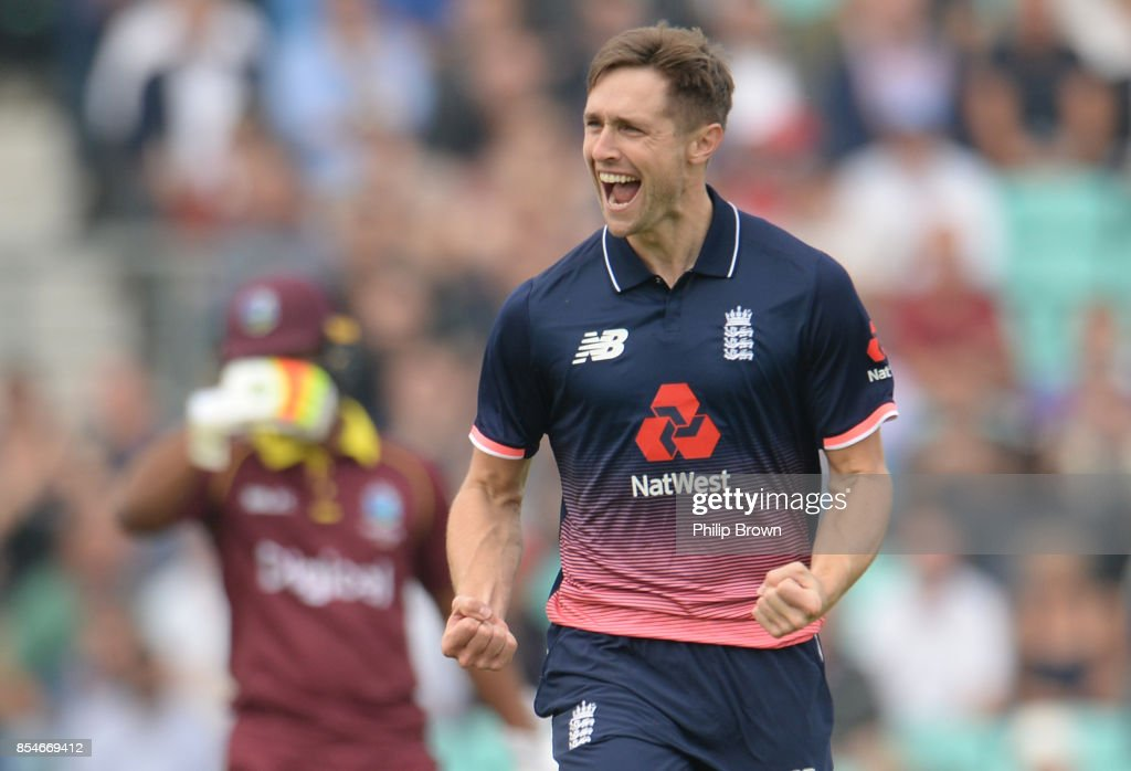 Chris Woakes of England celebrates after dismissing Chris Gayle of the West Indies during the 4th Royal London one-day international cricket match between England and the West Indies at the KIA Oval on September 27, 2017 in London, England.