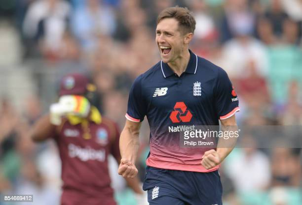 Chris Woakes of England celebrates after dismissing Chris Gayle of the West Indies during the 4th Royal London oneday international cricket match...