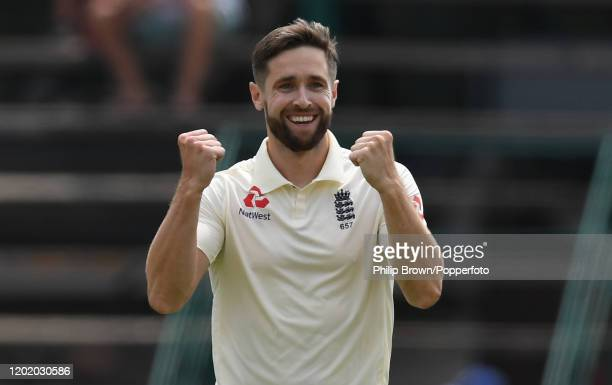 Chris Woakes of England celebrates after dismissing Vernon Philander of South Africa during Day Three of the Fourth Test at the Wanderers between...