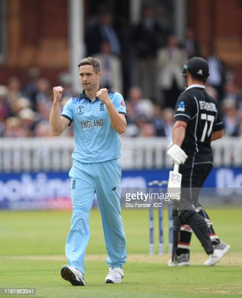 Chris Woakes of England celebrates after taking the wicket of Colin De Grandhomme of New Zealand during the Final of the ICC Cricket World Cup 2019...