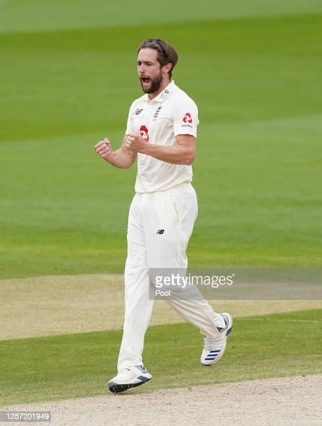 Chris Woakes of England celebrates after taking the wicket of Kraigg Brathwaite of West Indies during Day Five of the 2nd Test Match in the...