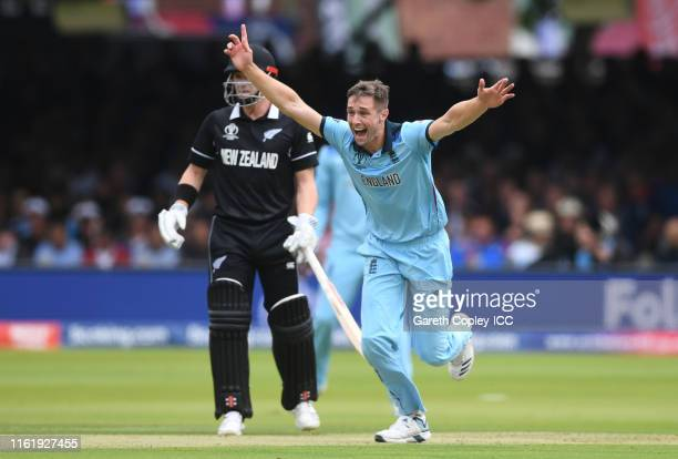 Chris Woakes of England celebrates after taking the wicket of Martin Guptill of New Zealand during the Final of the ICC Cricket World Cup 2019...