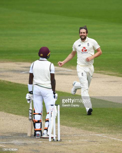 Chris Woakes of England celebrates after taking the wicket of Shamarh Brooks of West Indies during Day Five of the Ruth Strauss Foundation Test, the...