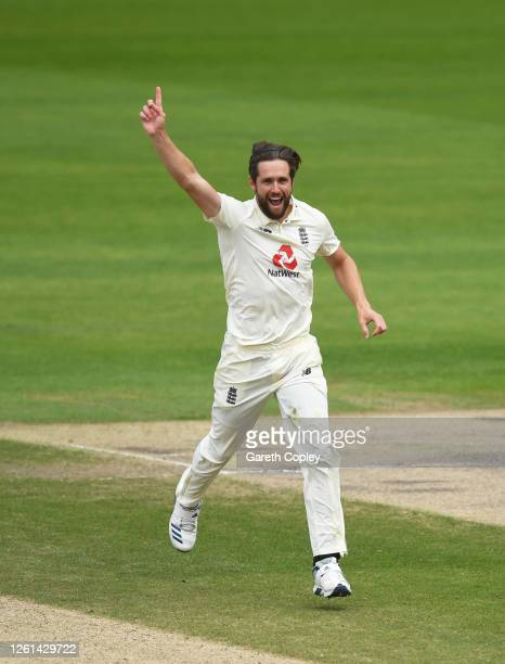 Chris Woakes of England celebrates after taking the wicket of Shamarh Brooks of West Indies during Day Five of the Ruth Strauss Foundation Test the...