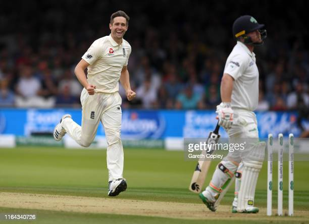 Chris Woakes of England celebrates bowling Paul Stirling of Ireland during day three of the Specsavers Test Match between England and Ireland at...