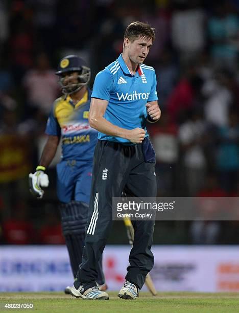 Chris Woakes of England celebrates dismissing Ajantha Mendis of Sri Lanka during the 5th One Day International between Sri Lanka and England at...