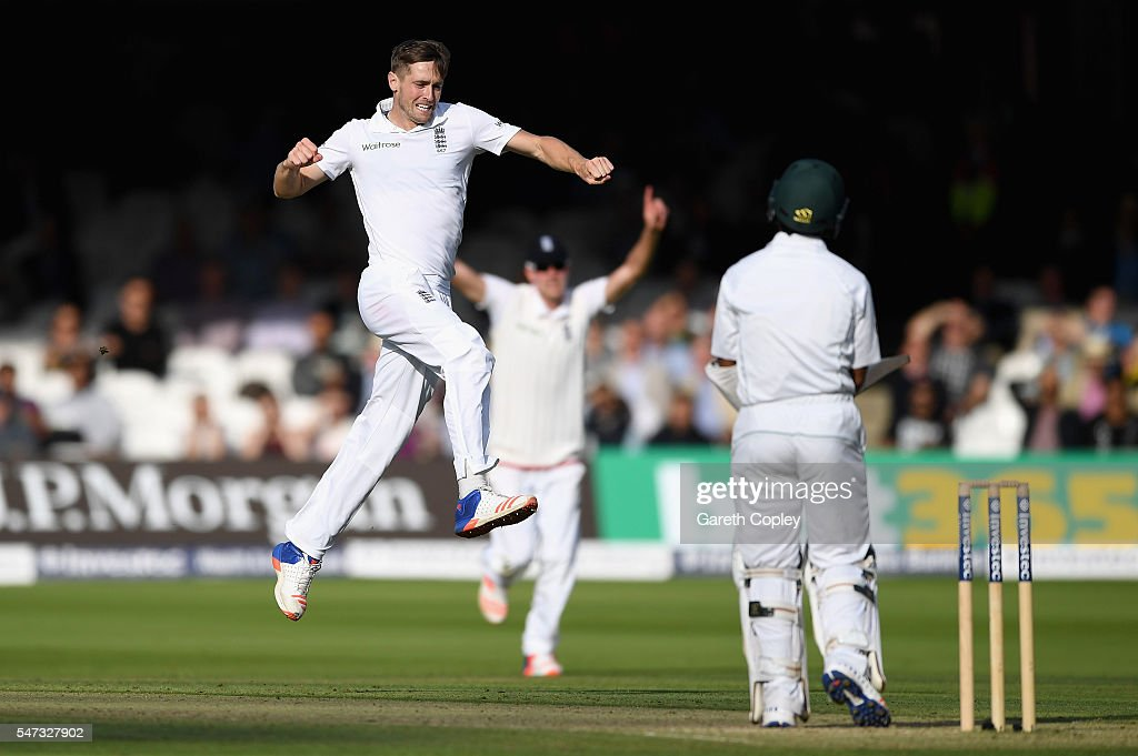 Chris Woakes of England celebrates dismissing Asad Shafiq of Pakistan during the 1st Investec Test between England and Pakistan at Lord's Cricket Ground on July 14, 2016 in London, England.