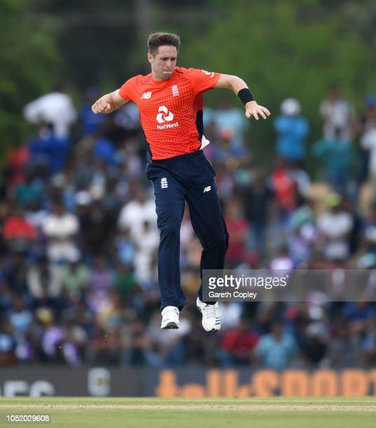 Chris Woakes of England celebrates dismissing Dasun Shanaka of Sri Lanka during the 2nd One Day International match between Sri Lanka and England at...