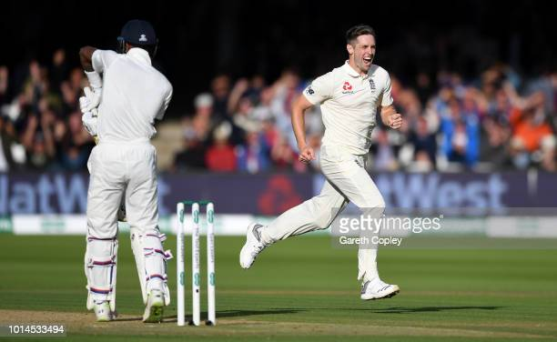 Chris Woakes of England celebrates dismissing Hardik Pandya of India during day two of the 2nd Specsavers Test between England and India at Lord's...