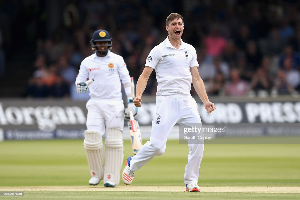 Chris Woakes of England celebrates dismissing Kusal Mendis of Sri Lanka during day three of the 3rd Investec Test match between England and Sri Lanka at Lord's Cricket Ground on June 11, 2016 in London, United Kingdom.