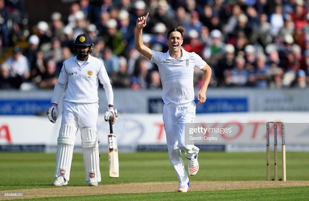 Chris Woakes of England celebrates dismissing Milinda Siriwardana of Sri Lanka during day two of the 2nd Investec Test match between England and Sri Lanka at Emirates Durham ICG on May 28, 2016 in Chester-le-Street, United Kingdom.