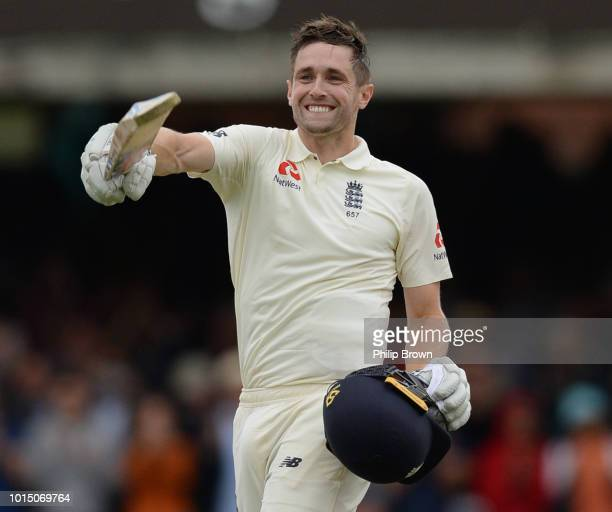 Chris Woakes of England celebrates reaching his century during the 2nd Specsavers Test Match between England and India at Lord's Cricket Ground on...
