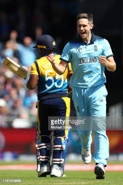 Chris Woakes of England celebrates taking the wicket of Kusal Perera of Sri Lanka during the Group Stage match of the ICC Cricket World Cup 2019...