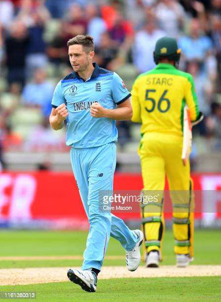 Chris Woakes of England celebrates taking the wicket of Mitchell Starc of Australia during the SemiFinal match of the ICC Cricket World Cup 2019...
