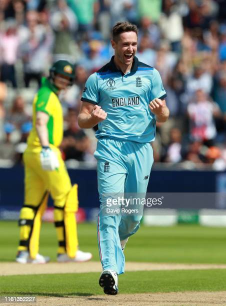 Chris Woakes of England celebrates taking the wicket of Peter Handscomb of Australia during the SemiFinal match of the ICC Cricket World Cup 2019...