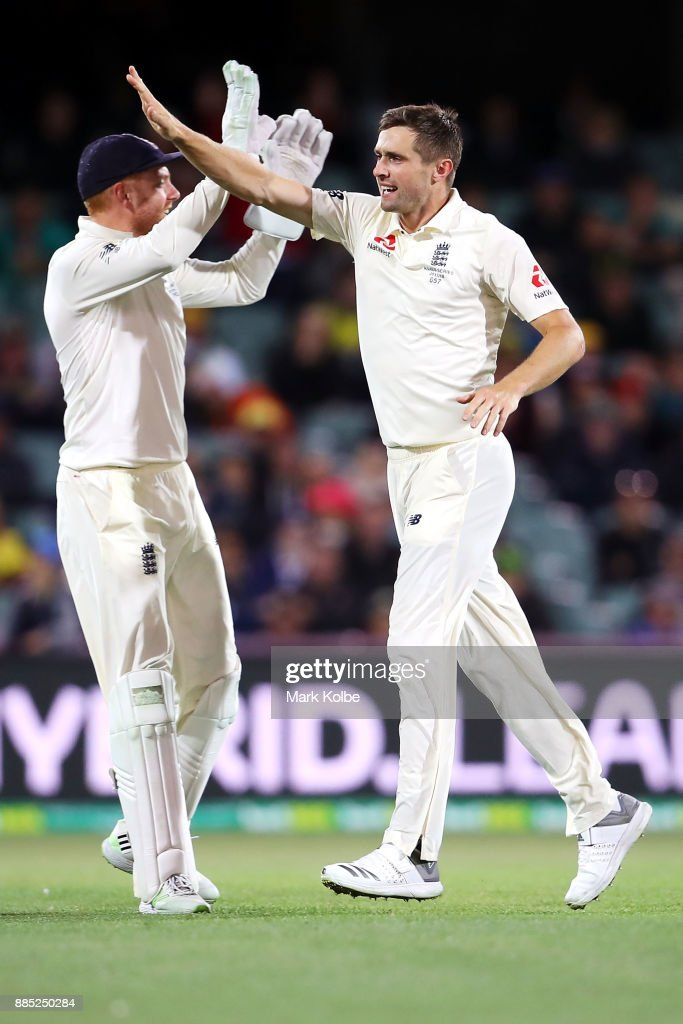 Chris Woakes of England celebrates taking the wicket of Steve Smith of Australia during day three of the Second Test match during the 2017/18 Ashes Series between Australia and England at Adelaide Oval on December 4, 2017 in Adelaide, Australia.
