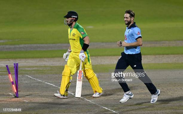 Chris Woakes of England celebrates the wicket of Aaron Finch of Australia during the 2nd Royal London One Day International Series match between...