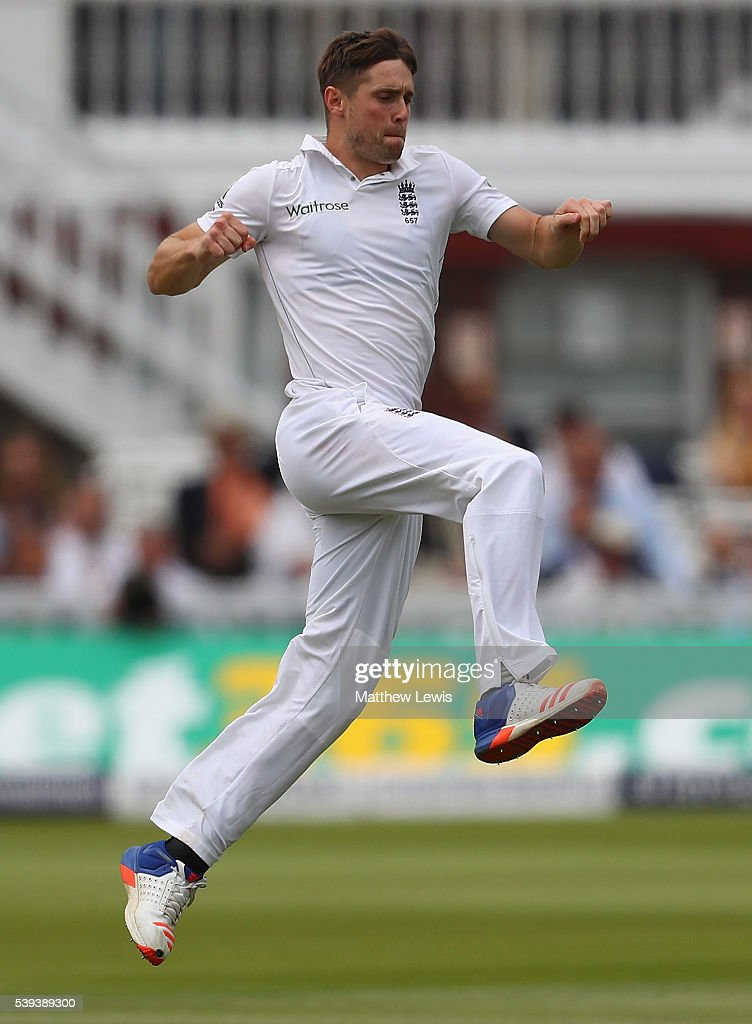 Chris Woakes of England celebrates the wicket of Angelo Mathews of Sri Lanka, after he was caught by Joe Root during day three of the 3rd Investec Test match between England and Sri Lanka at Lord's Cricket Ground on June 11, 2016 in London, United Kingdom.