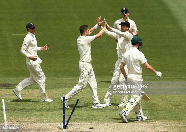 Chris Woakes of England celebrates the wicket of Cameron Bancroft of Australia during day four of the Fourth Test Match in the 2017/18 Ashes series...