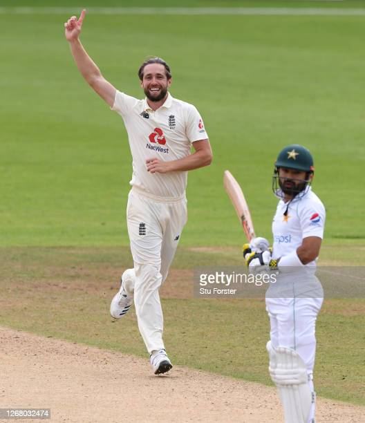 Chris Woakes of England celebrates the wicket of Mohammad Rizwan of Pakistan during Day Three of the 3rd #RaiseTheBat Test Match between England and...