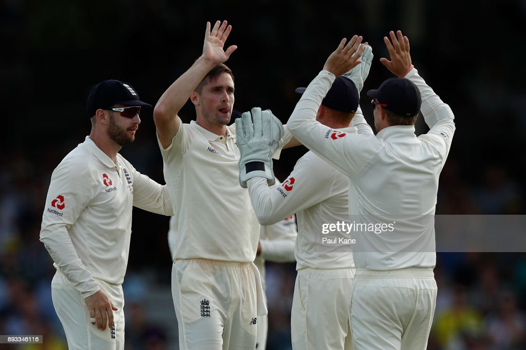 Chris Woakes of England celebrates the wicket of Usman Khawaja of Australia during day two of the Third Test match during the 2017/18 Ashes Series between Australia and England at WACA on December 15, 2017 in Perth, Australia.