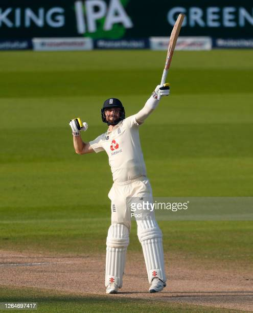Chris Woakes of England celebrates victory on Day Four of the 1st #RaiseTheBat Test Match between England and Pakistan at Emirates Old Trafford on...