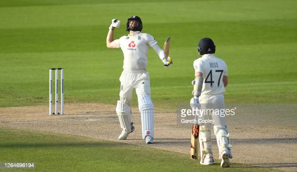 Chris Woakes of England celebrates victory with Dom Bess on Day Four of the 1st #RaiseTheBat Test Match between England and Pakistan at Emirates Old...