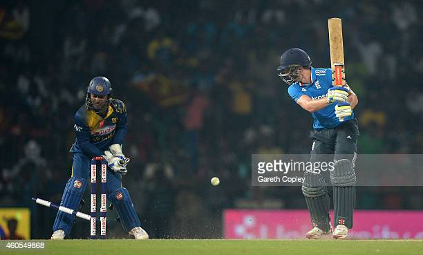 Chris Woakes of England is bowled by Dilruwan Perera of Sri Lanka during the 7th One Day International match between Sri Lanka and England at R...