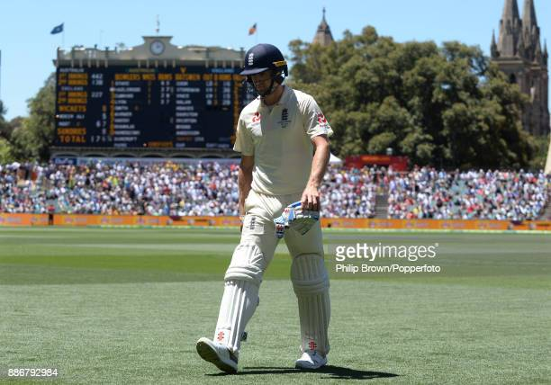 Chris Woakes of England leaves the field after being dismissed during the fifth day of the second Ashes cricket test match between Australia and...