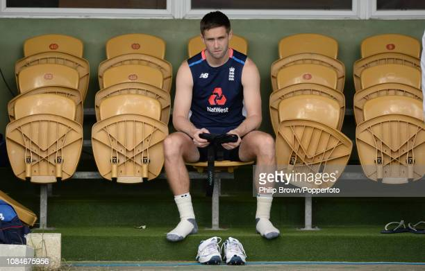 Chris Woakes of England looks on before the second day of the match between West Indies Board XI and England at the Three Ws Oval on January 18 2019...